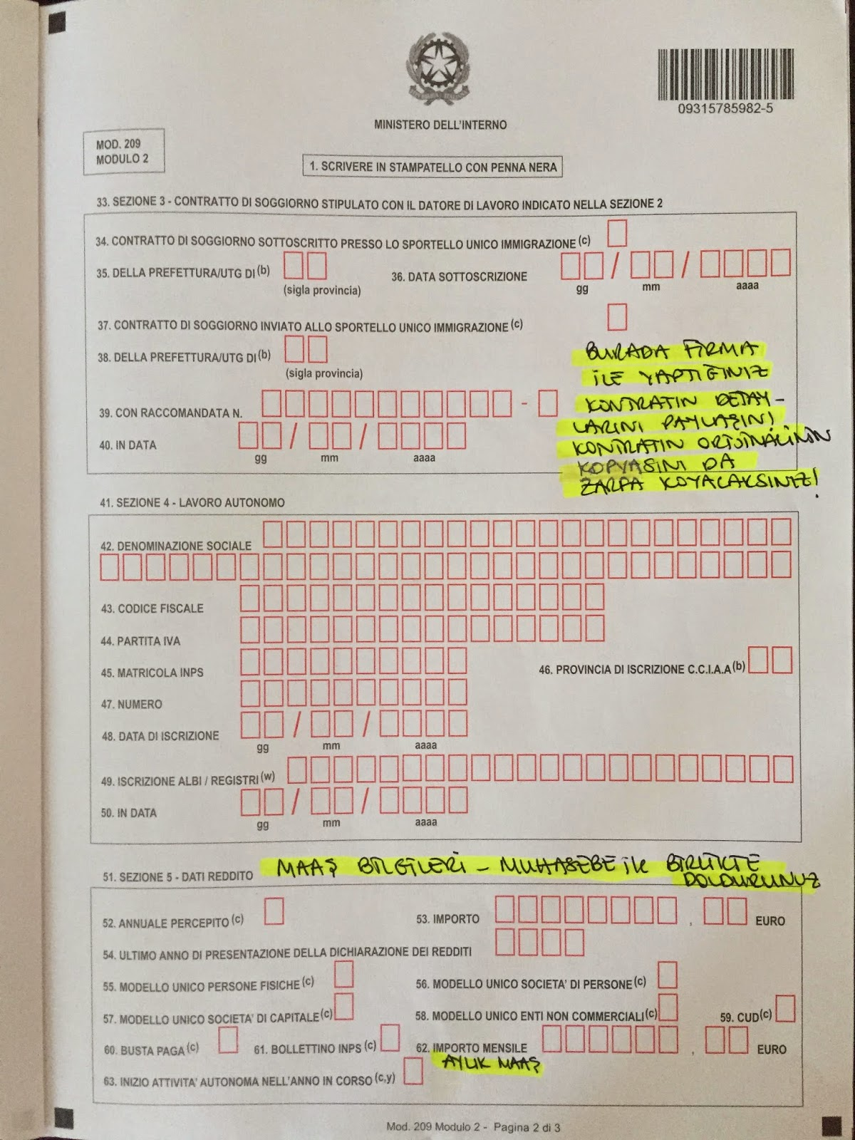 Permesso Di Soggiorno (Oturma İzni) Başvuru Formu Nasıl Doldurulur ...