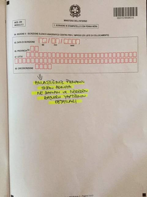permesso di soggiorno başvuru formu modulo 2 sayfa 3
